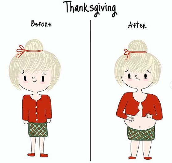 Saat ada acara makan-makan, awalnya sih pakai baju yang pas dengan body, tapi waktu pulang pesta perut malah membuncit dengan sendirinya.