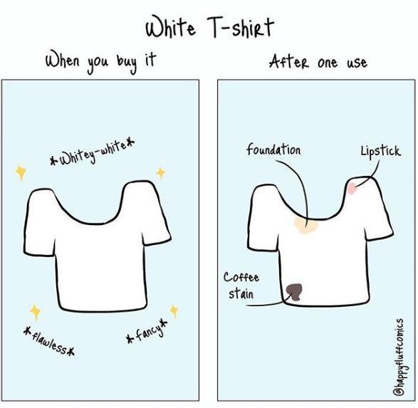 Resiko memakai baju putih ya gini nih, sering ternodai karena makeup.