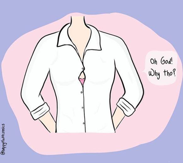 Saat kamu selalu risih ketika kancing baju yang suka terbuka di tengah kaya gini. Butuh peniti untuk menutupinya.