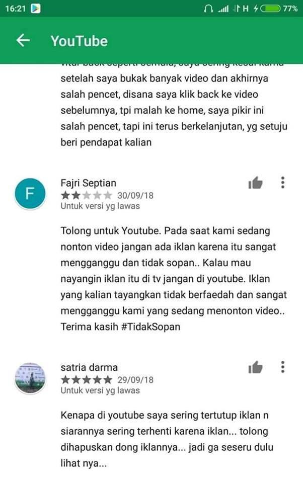 Inilah suara hati para penonton Youtube. Yang setuju beri pendapat kalian.