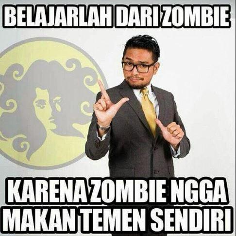 Karena zombie lebih baik makan daging gitu daripada makan teman sendiri.