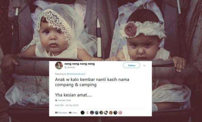 Berawal dari cuitan inilah awal mula nama anak kembar yang nyeleneh.