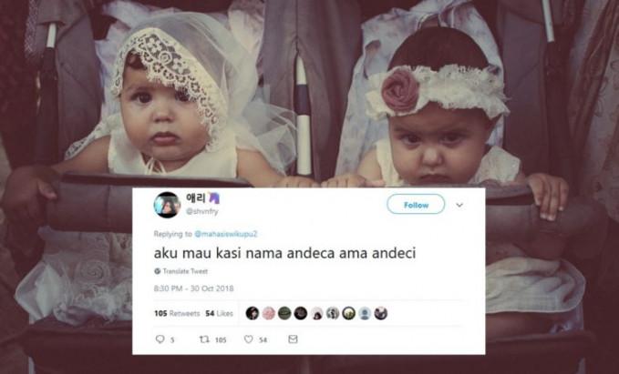 Ntar kalau punya anak kembar lagi namanya Bora Bori.