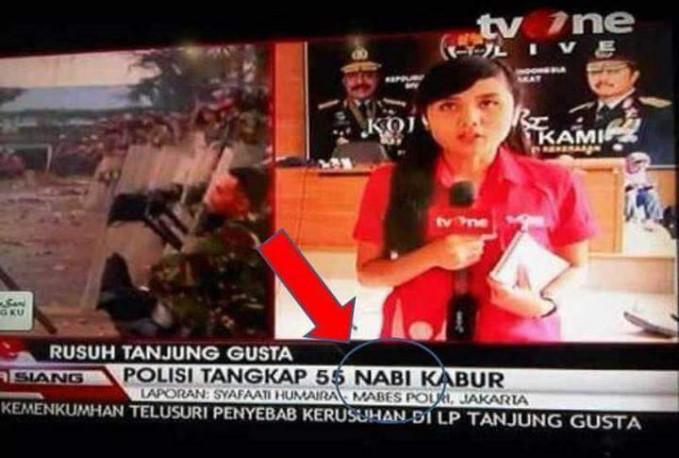 Untung aja nggak digeruduk ormas-ormas stasiun TV-nya gara-gara typonya fatal banget.