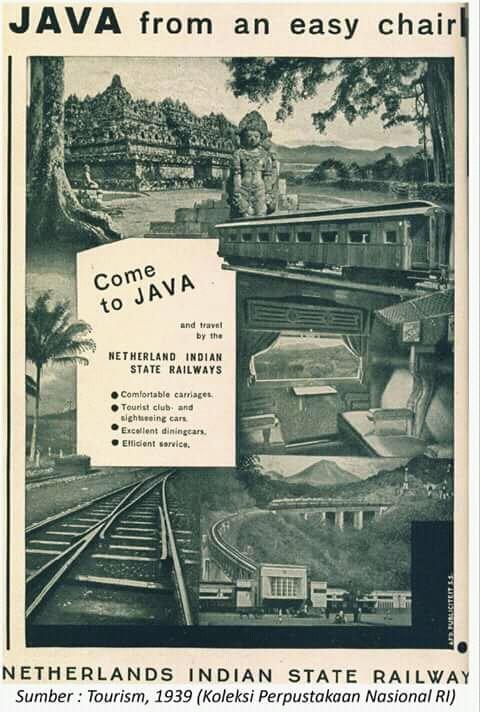Promosi wisata jaman dulu juga gencar gengs. Untuk menarik wisatawan asing, ada sebuah promosi keliling Jawa naik kereta api dengan fasilitas mewah seperti ini.