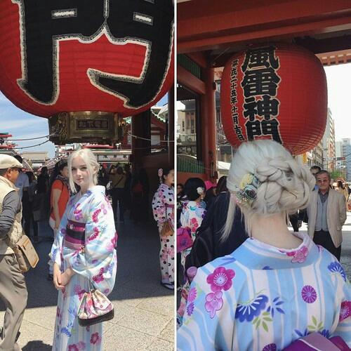 Sedang memakai kimono, orang Jepang bisa minder nih