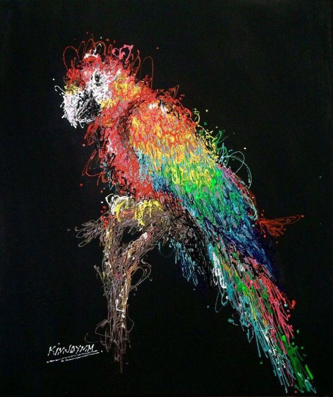 Begitu pula dalam memadukan warna untuk menghasilkan lukisan seekor burung nuri yang sedang bertengger kayak gini.