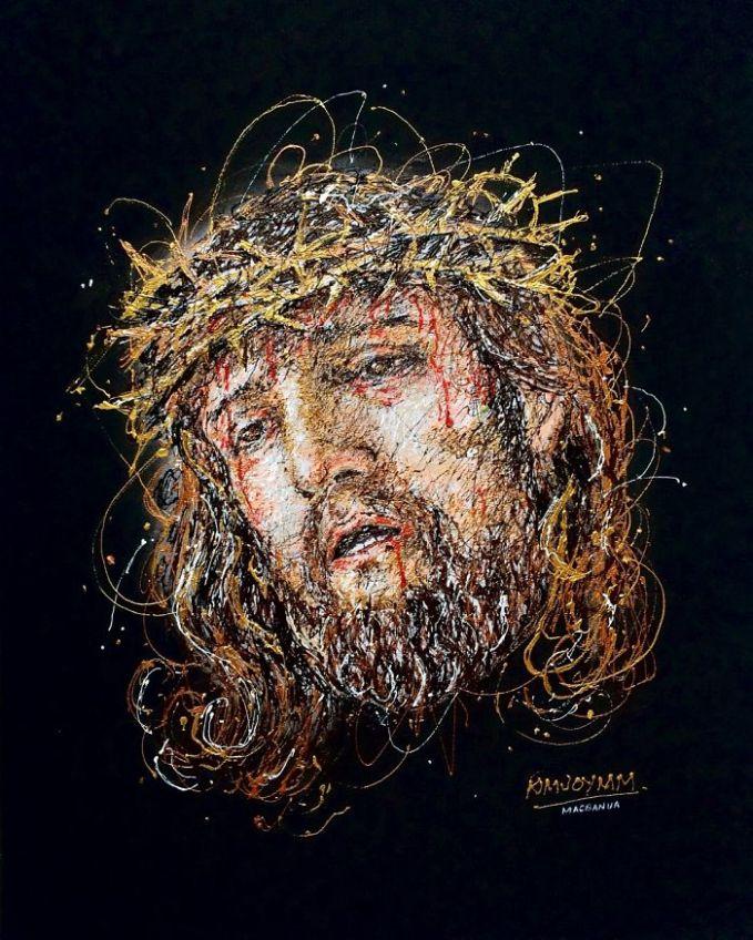 Dan ini adalah sosok wajah Yesus yang dilukis dengan menggunakan perpaduan warna. Hasilnya sangat menakjubkan.