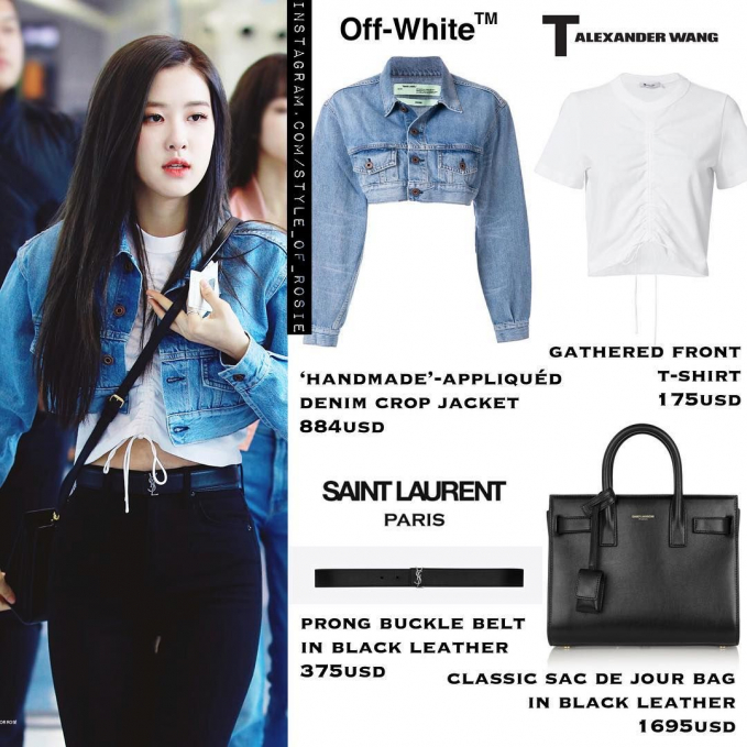 Setelan jacket dan t-shirt, Rose melengkapi outfitnya dengan classic sac de jour bag in black leather dari Saint Laurent seharga Rp. 24,6 juta.