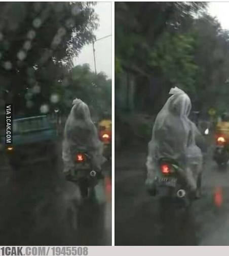 Kalau ada jas hujan model ponco, kalau ini mungkin lebih tepat namanya jas hujan model pocong.