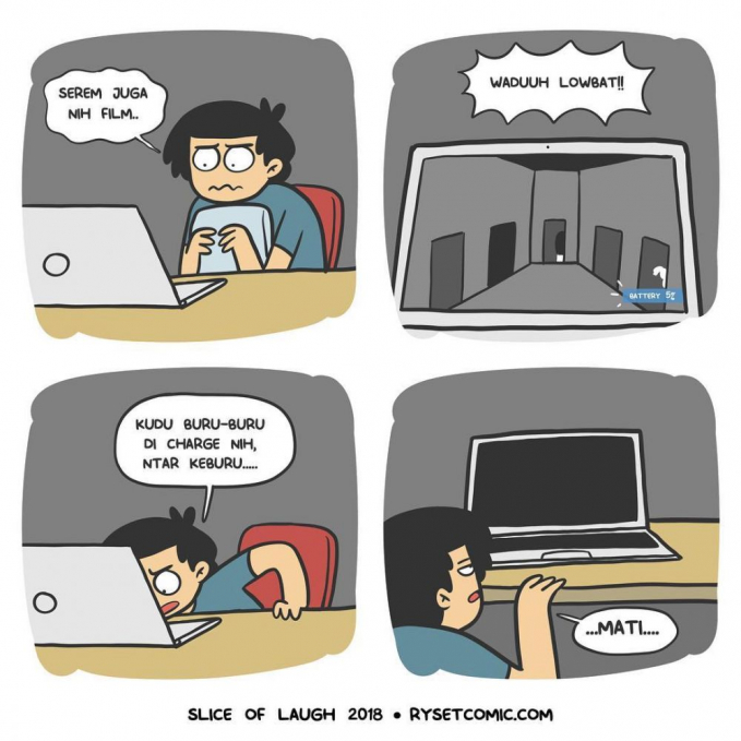 Pas lagi seru-serunya laptop malah mati, jadi kesel tapi nggak tau mau marah sama siapa?