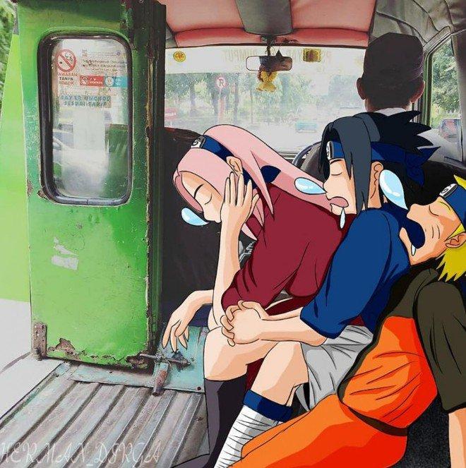 Ketika Naruto dan teman-temannya ketiduran di angkot pas pulang sekolah nih.