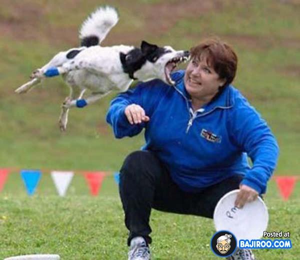 Astaga, ibu ini masih sempat-sempatnya tersenyum di detik-detik menjelang dirinya digigit anjing kesayangannya.