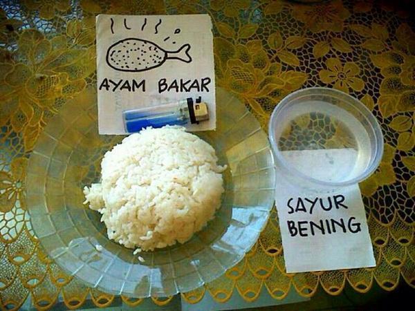 Cuma bisa berkhayal doang, yang penting bisa makan nasi walaupun apa adanya.
