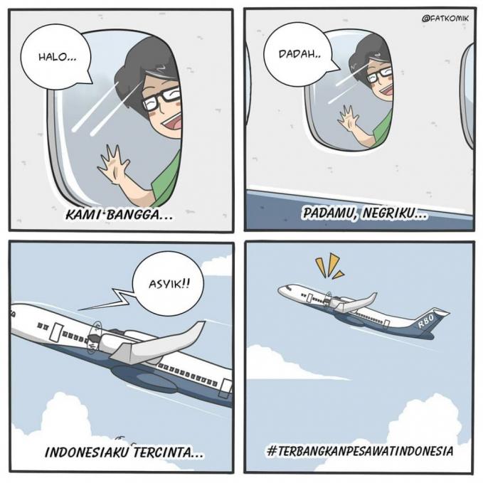 Ekspresi seseorang saat pertama kali naik pesawat. Girangnya minta ampun.