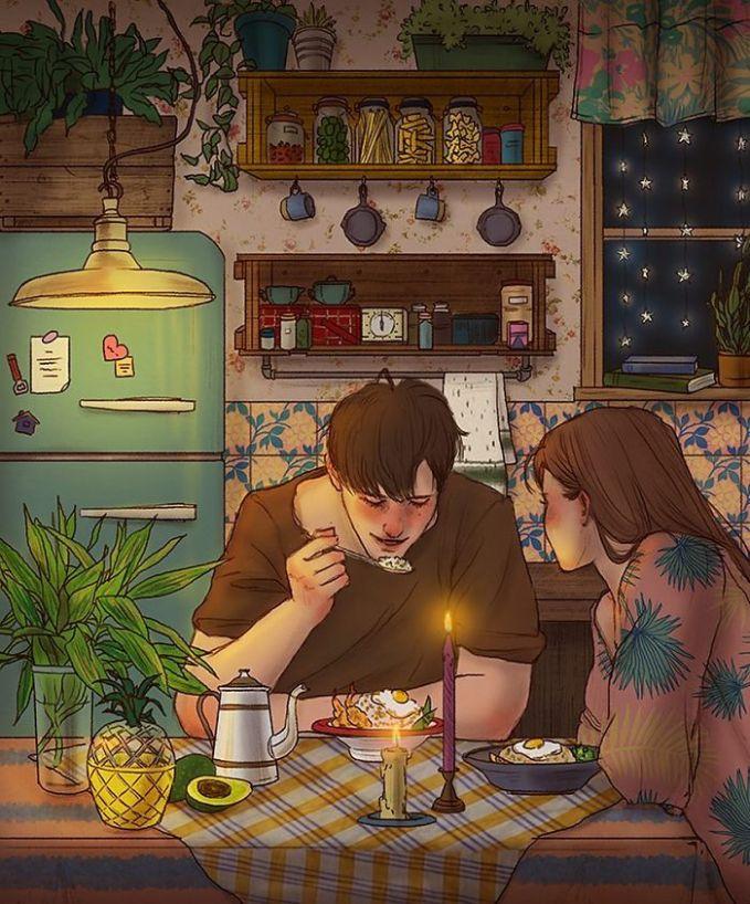 Makan malam bersama berasa lebih indah walaupun sederhana. Apalagi kalau masakan istri tercinta. Apapun jadi makin nikmat dan lezat. Bikinnya pakai cinta Pulsker.