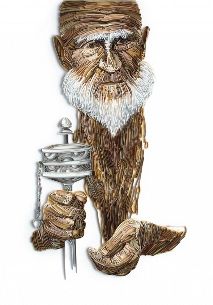 Nggak hanya bertema wanita saja, sang seniman juga membuat karya bertema kakek-kakek dengan jenggot lebatnya.