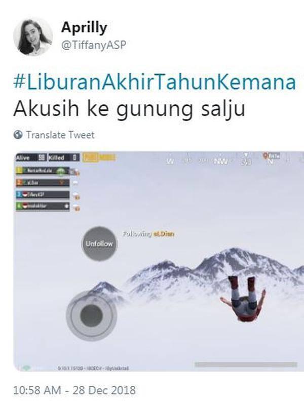 Ke gunung salju walaupun hanya ke tempat virtual.