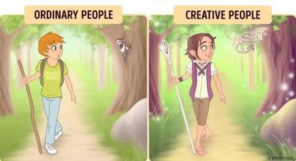 Saat berjalan ditengah hutan yang sepi, orang kreatif nggak merasa kesepian sob. Karena dengan imajinasinya dia akan merasa memiliki teman disekitar.