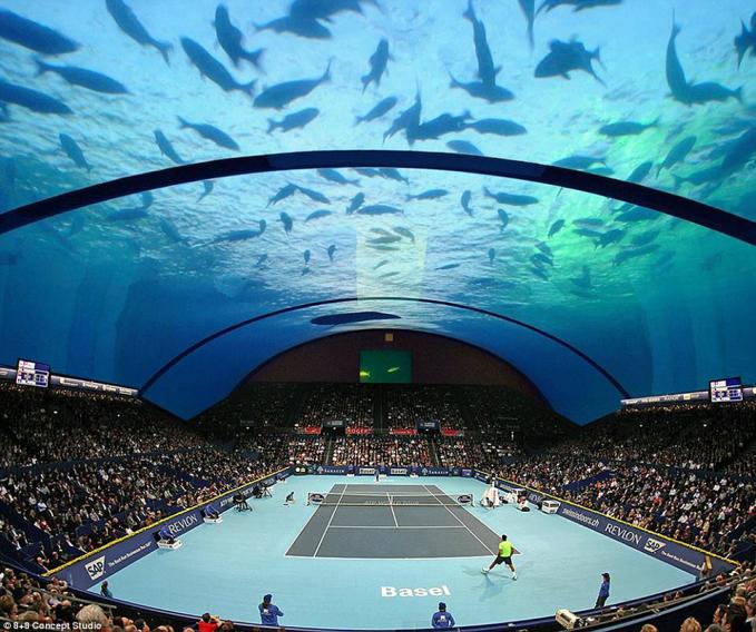 Lapangan bawah air Dubai Kamu pernah membayangkan bisa main tennis di bawah laut? Sebentar lagi hal itu akan terwujud di Dubai. Bukan Dubai namanya kalau tidak membuat sesuatu yang fenomenal yang bikin dunia terkagum kagum. Meski masih dalam proses rekontruksi namun proyek ini sudah menghabiskan dana 34 triliun rupiah. Bahkan masyarakat dunia sudah siap mengantri untuk melihat pembukaannya.