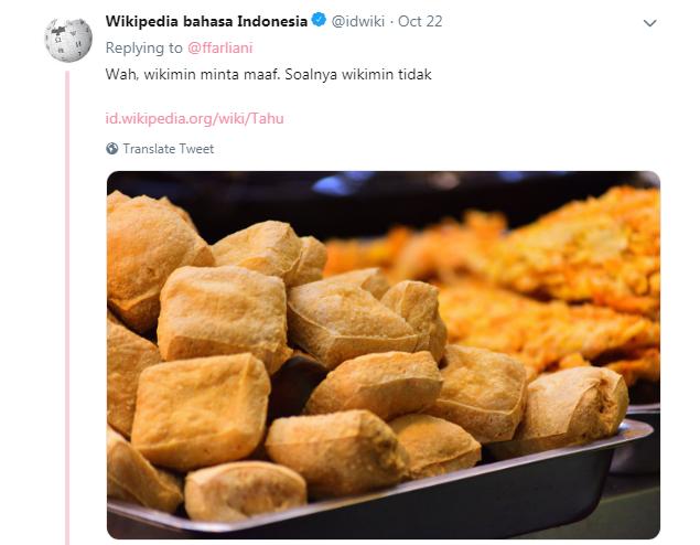 Wah Wikimin minta maaf, soalnya Wikimin Nggak TAHU ( Tau )