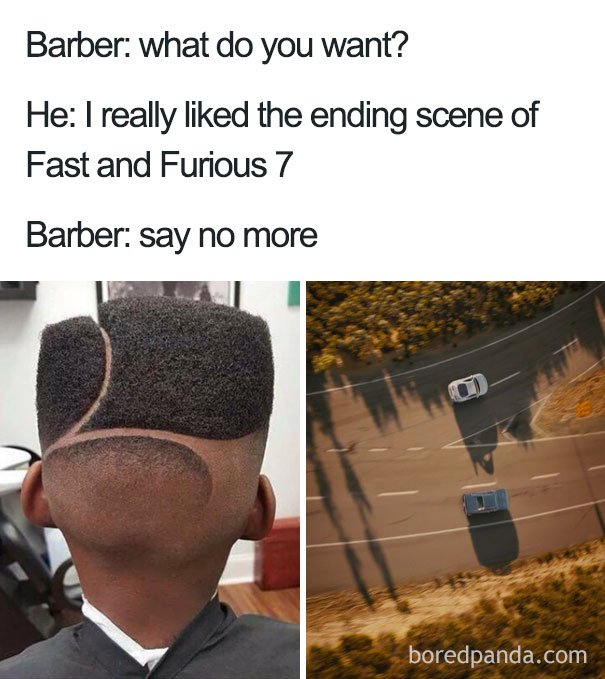 Maksudnya gaya rambut pemeran fast and Furious 7, bukan jalan yang dilalui mobilnya ... hahahahaha !