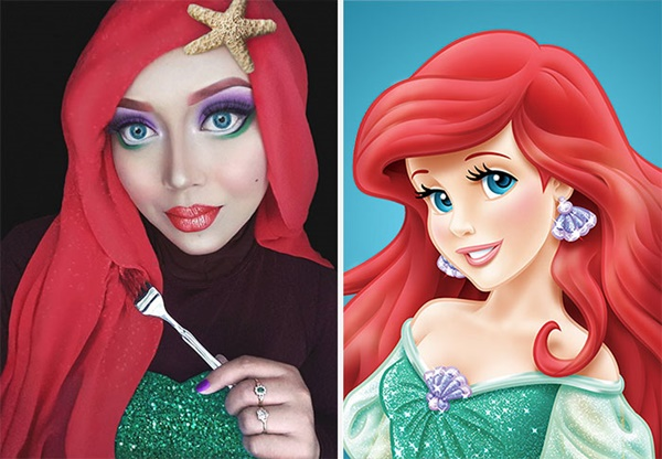 Rambut Ariel yang nampak lebatpun mampu ditiru oleh Saraswati.