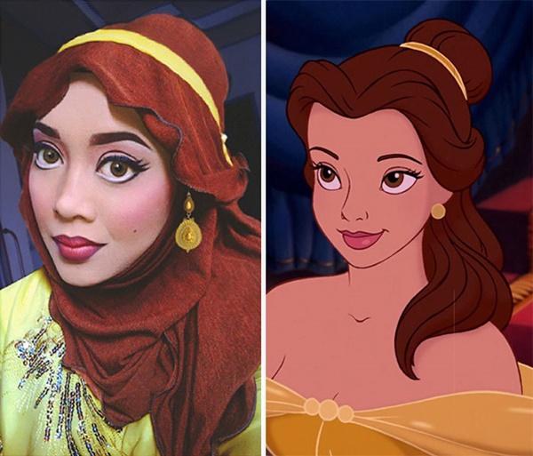 Jilbab, make up, samapi aksesoris dipadu padankan .. dan hasilnya mirip ama putri Belle