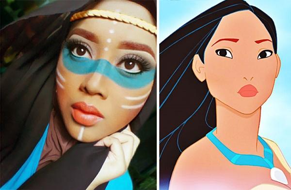 Wow .. Hijabnya juga keliatan terurai seperti rambut Pocahontas