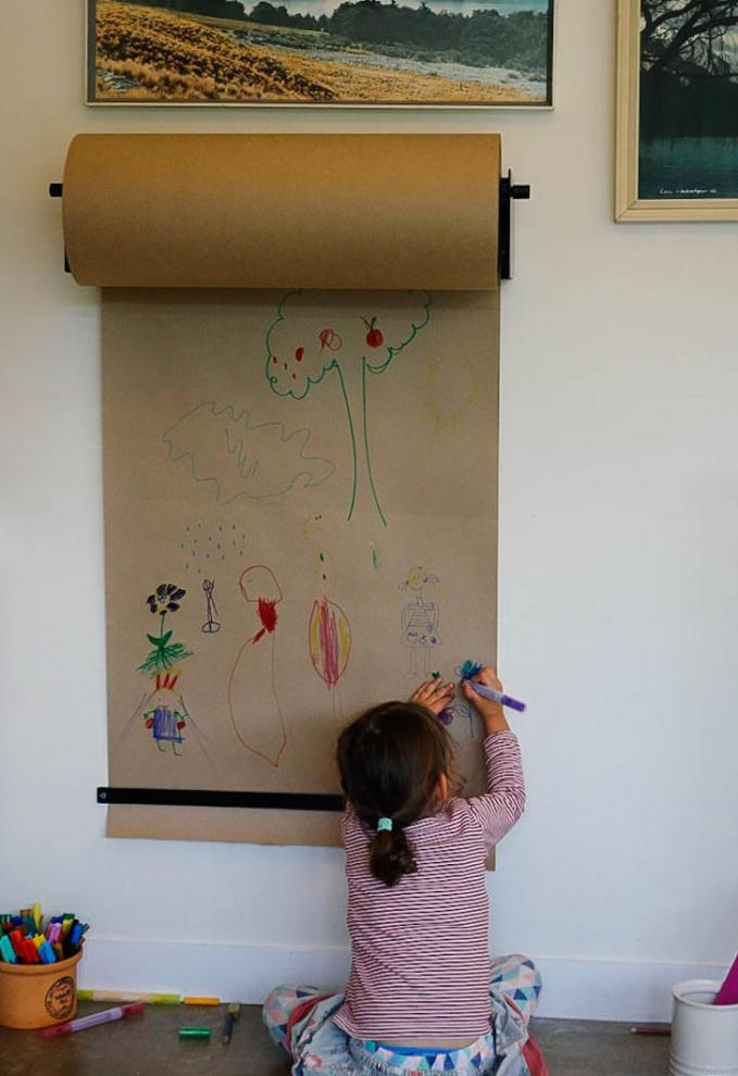 Pake kertas gulung, biar gambarnya nggak di tembok.