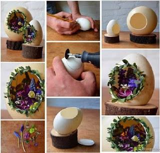 Miniatur 3 Dimensi kulit telur Berikutnya adalah miniatur 3 dimensi yang terbuat dari cangkang telur. Di bawah ini adalah salah satu contoh miniatur bentuk gua yang dibuat dari sebuah cangkang telur. Caranya cuma dengan membolongi sebagian permukaan telur. Lalu diberikan hiasan daun dan ornamen penghias lain ke dalamnnya.