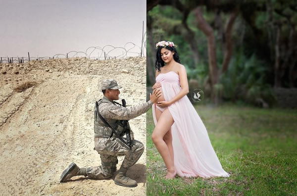 Menjadi seorang tentara harus siap menjalankan tugas demi negara kapanpun, termasuk saat istri sedang hamil. Inilah yang dialami oleh Brandon Phillips seorang Angkatan Udara AS saat Veronica, sang istri tengah hamil. Mereka pun membuat foto yang unik dan jadi sumber inspirasi nih.
