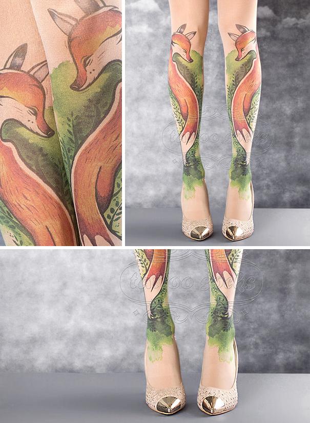 Motif sepasang rubah terlihat seperti tato beneran ya Pulsker.