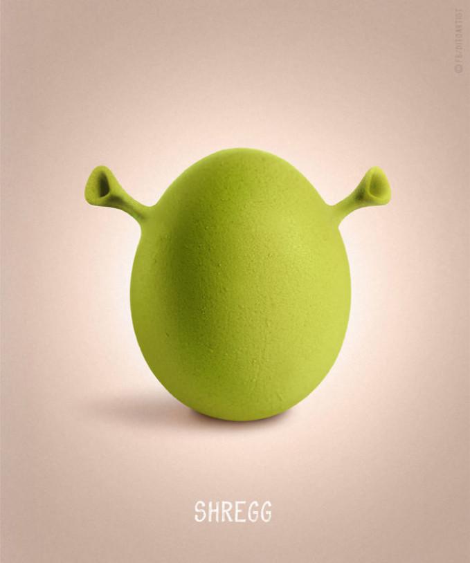 Semua telur bentuknya oval, dan yang bertelur biasanya hewan. Tapi kalau si Shrek bertelur ya gini deh jadinya.
