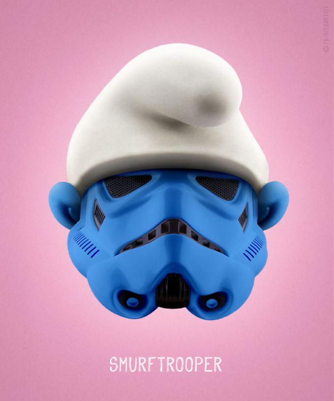Si Smurf mencoba jadi sosok Stormtrooper gaes. Jadinya adalah Smurftrooper.