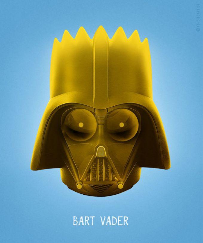 Sama halnya sosok Bart Simpsons yang mau jadi si Darth Vader. Alhasil, yang muncul adalah gabungan keduanya Bart Vader.