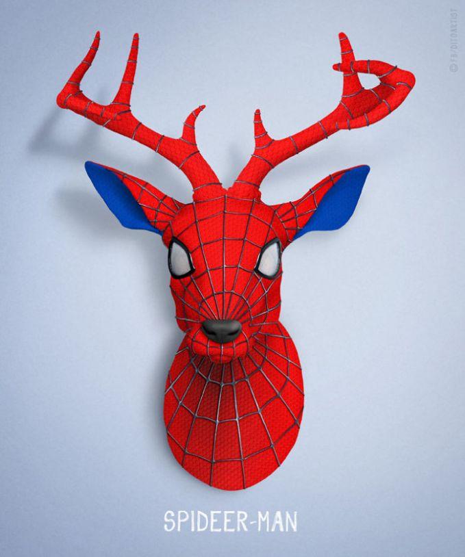 Waduh, si Spiderman kena rupanya bermutasi gen dan berubah menjadi kepala rusa. Hmm, jadi inget manusia kepala rusanya si Dono dan kawan-kawan di Warkop DKI.
