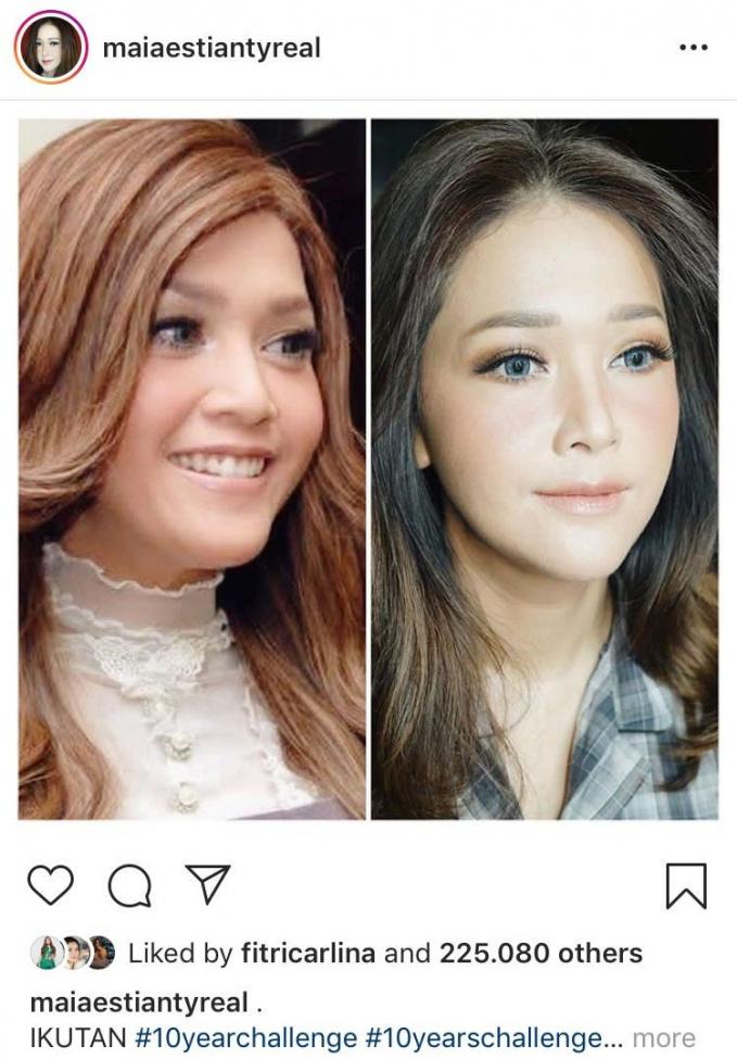 Dengan makeup artis yang sama, selama 10 tahun wajah Bunda Maia malah kelihatan lebih flawless.