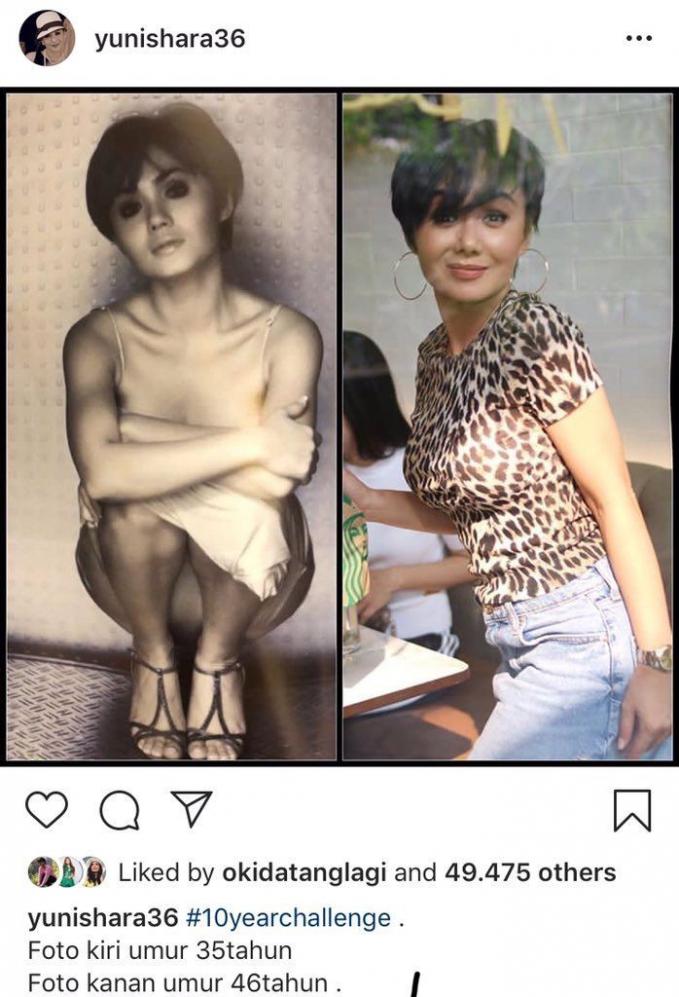Selama 10 tahun wajah Yuni Shara juga nggak mengalami perubahan. Seperti vampir ya!