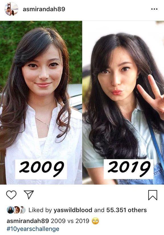 Selama 10 tahun ini, wajah Asmirandah nyaris nggak ada perubahan. Tetap imut dan cantik.