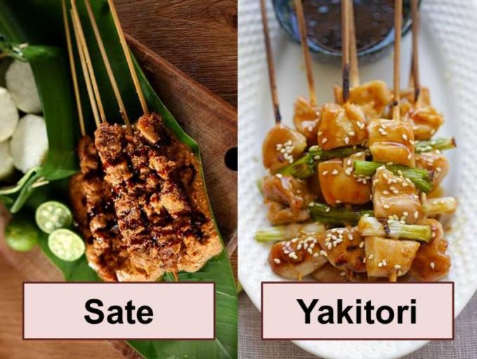 Sate dan Yakitori Sama - sama mempunyai bahan utama daging yang ditusuk, bedanya kalo sate disiram dengan bumbu kacang, dan Yakitori hanya disiram dengan kecap asin.