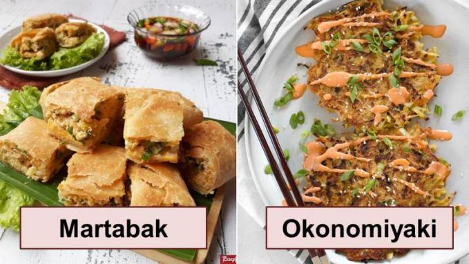 Martabak dan Okonomiyaki Yang membuat mirip dari makanan ini yaitu dari bahannya yang sama, yaitu sayur, daging, dan telor.