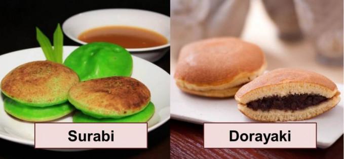 Surabi dan Dorayaki Bahan surabi dan dorayaki sama, yang membedakan jika surabi nggak ada isiannya, tetapi dorayaki ada isiannya.