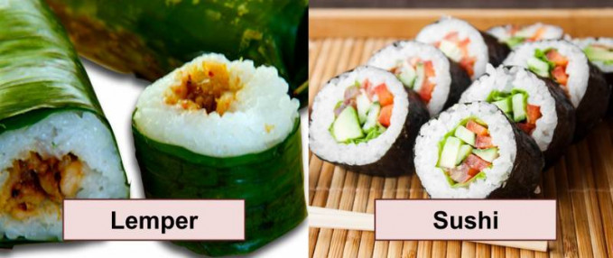 Lemper dan Sushi Yang bikin mirip dari makanan ini adalah bentuknya, meskipun bahan utama dan isiannya berbeda.