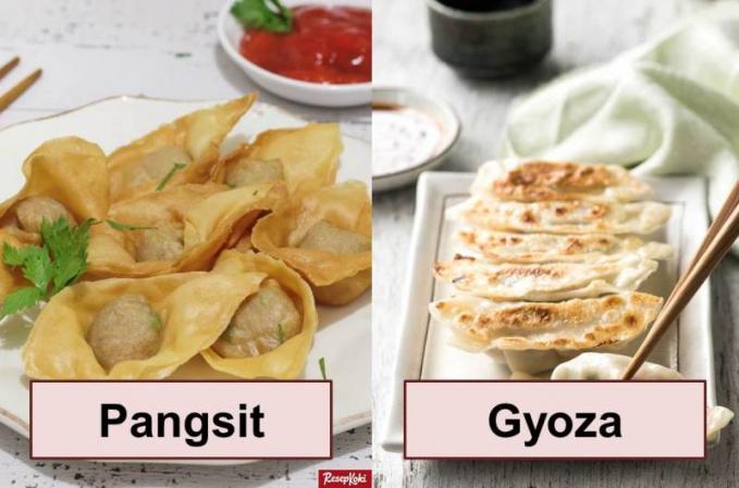 Pangsit dan Gyoza Pangsit dan Gyoza memang mirip, cuma kalau Gyoza mempunyai penyajian yang agak putih tepung dan ada sedikit gosong - gosongnya, kalo pangsit berwarna kecoklatan.
