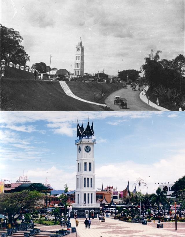 Jam Gadang Siapa sangka jika penampakan Jam Gadang yang terletak di Sumatera Barat ini mengalami banyak perubahan zaman dulu dan saat ini. Kira-kira sudah menemukan apa perbedaannya?