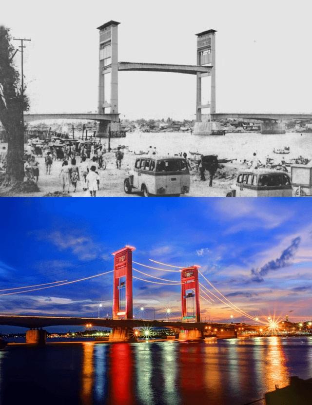 Jembatan Ampera Siapa sangka jika dulu bagian tengah Jembatan Ampera yang terletak di Palembang ini terdapat alat pemberat yang bisa mengangkat jalan. Hal ini untuk memberikan ruang kepada kapal-kapal yang melewati sungai di bawahnya.