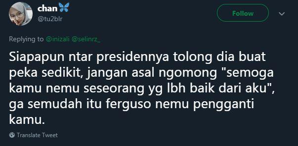 Si baper, yang juga meminta presiden untuk menyelesaikan masalah cintanya.