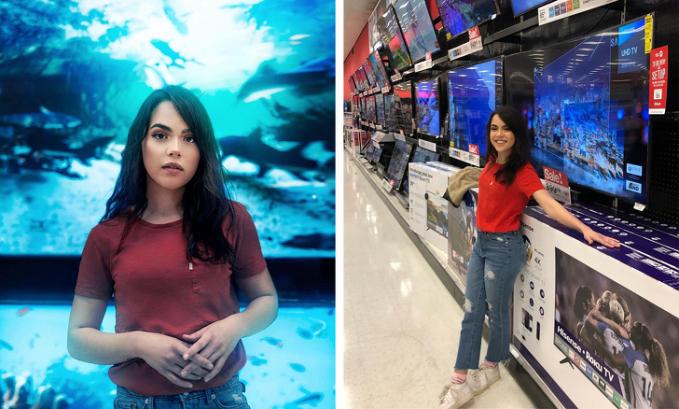 Wanita ini seperti berada di Seaworld, ternyata dia hanya berfoto di depan layar LED TV.