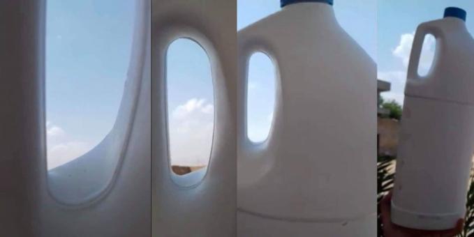 Baru-baru ini sempat viral foto di balik jendela pesawat. Ternyata itu hanya lubang pada sebuah botol. Innovative juga ya idenya.